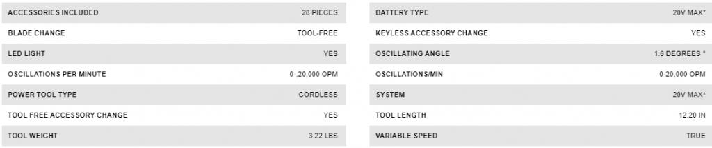Specification of Dewalt DCS356D1